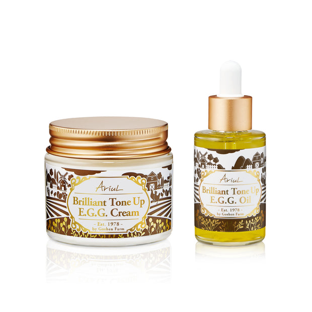 Ariul Organic Lecithin Facial Face Cream & Oil Moisturizer, Brilliant Tone Up E.G.G. Cream & Oil Set - Damaged Skin Repair Treatment