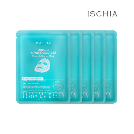 Ischia 5% Hyaluronic Acid Facial Face Sheet Mask Pack - Miracle Marine Collagen Corset Mask for Firming & Lifting, Spring Mineral Water, Betaine, Peptide Extracts