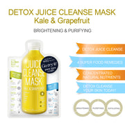 Ariul Skin Detox Sheet Mask Pack - Juice Cleanse Mask 2X Plus Kale & Grapefruit for Whitening, Purifying, and Exfoliating