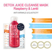 Ariul Skin Detox Sheet Mask Pack - Juice Cleanse Mask Raspberry & Lentil for Anti-Wrinkle, Elasticity, Vitality