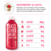 Ariul Skin Detox Sheet Mask Pack - Juice Cleanse Mask Raspberry & Lentil for Anti-Wrinkle, Elasticity, Vitality, Raspberry, Lentil, Acai Berry, Blackberry, Blueberry, Vitamin A