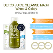 Ariul Skin Detox Sheet Mask Pack - Juice Cleanse Mask Wheat & Celery for Hydration, Soothing, & Nourishment
