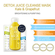 Ariul Natural Facial Face Sheet Mask Pack, Juice Cleanse Mask - Kale & Grapefruit for Whitening, Purifying & Exfoliating
