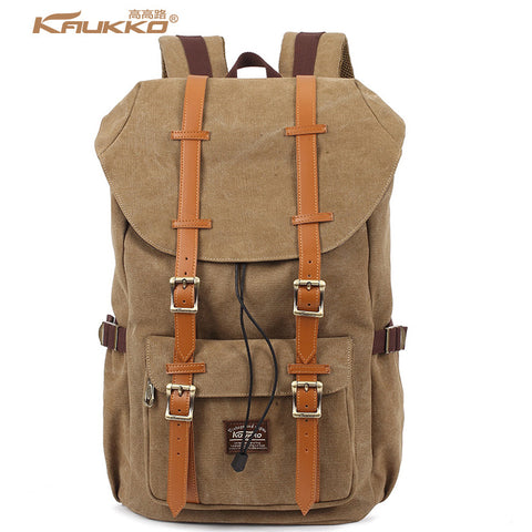 KAUKKO Handmade Brown Canvas Premium Backpack (SB989) , KAUKKO SB989