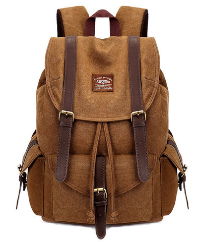 KAUKKO Handmade Premium Canvas Brown Backpack (SB608) , KAUKKO SB608
