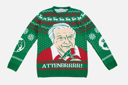 David Attenborough Christmas Jumper - Attenbrrr