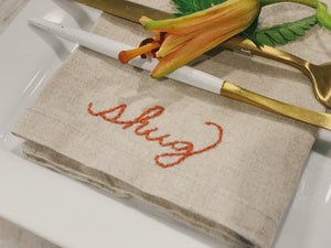Hand Embroidered Dinner Napkins