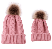 Duo de bonnets tricoté main Rose / Enfant bonnet