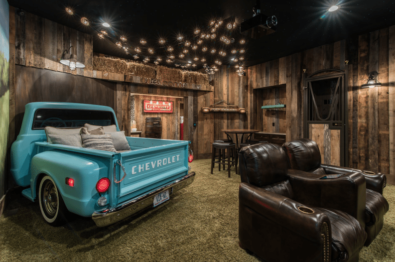 This Basement was Transformed into an Indoor Drive-In Movie Theatre