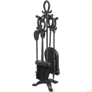 Black Brushed Steel Tudor Loop Companion Set - LUXE Home Interior