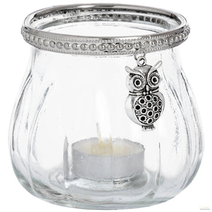 Large Owl Glass Tea Light Votive - LUXE Home Interiors