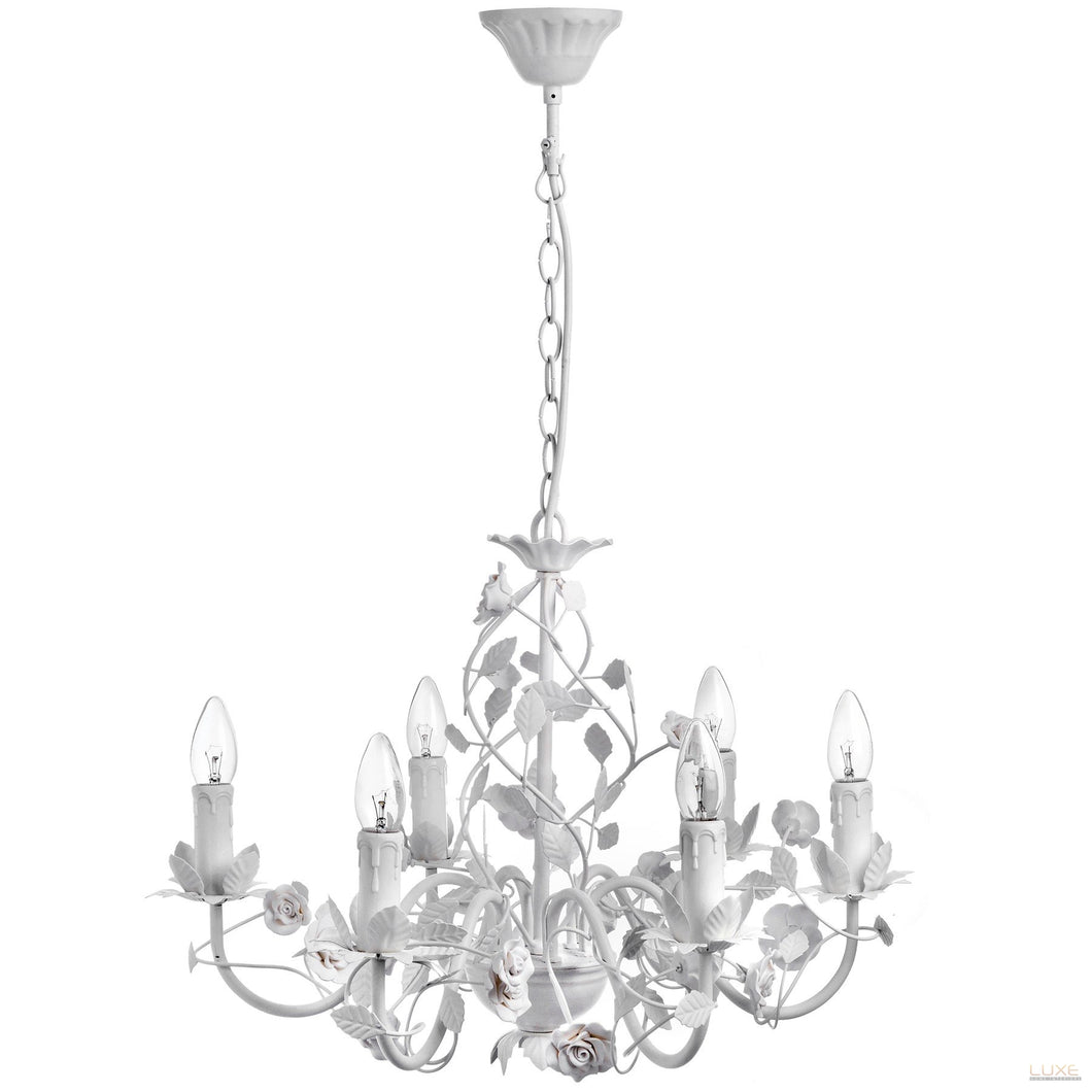 White Six Lamp Leafy Chandelier - LUXE Home Interiors