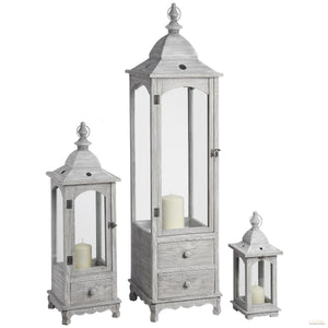 Set of Three Floor Standing Lanterns with Drawers - LUXE Home Interiors