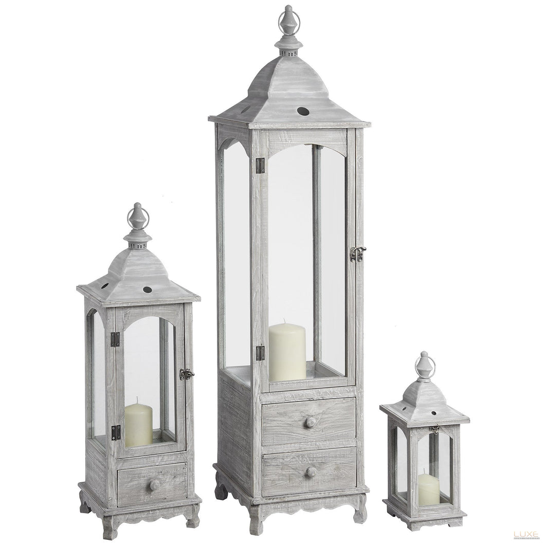 Set of Three Floor Standing Lanterns with Drawers
