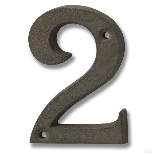 Rustic Brown Cast Iron Number '2' - LUXE Home Interiors