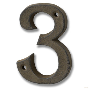 Rustic Brown Cast Iron Number '3' - LUXE Home Interiors