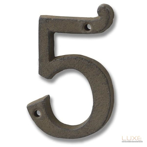 Rustic Brown Cast Iron Number '5' - LUXE Home Interiors