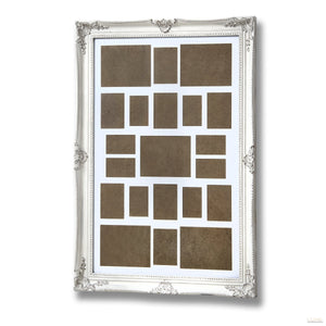 Large, Antique White, Ornate Frame for Multiple Photos - LUXE Home Interiors
