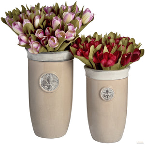 Set of two tall ceramic Fleur de Lys planters - LUXE Home Interiors