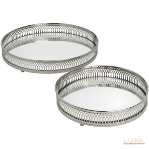 Set Of 2 Circular Nickle tray - LUXE Home Interiors