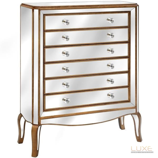 Venetian Mirrored 6 drawer tall boy - LUXE Home Interiors