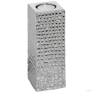Square Silver Ceramic Tea Light Holder - Large - LUXE Home Interiors