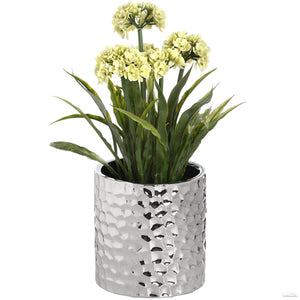 Silver Ceramic Planter in Dimple effect - LUXE Home Interiors