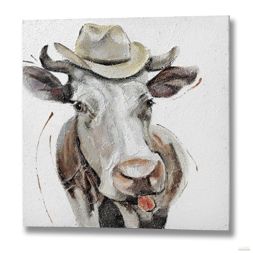 Comedy Cow Oil Painting