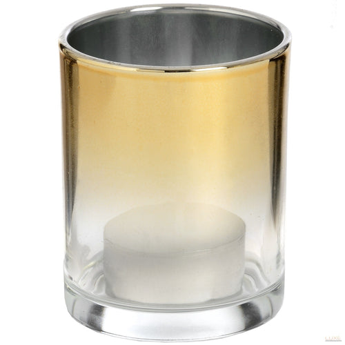 Small Silver Brass Ombre Tea Light Holder - LUXE Home Interiors