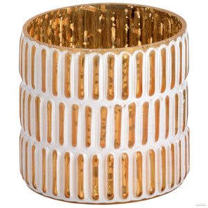 Small gold and white patterned tea light holder - LUXE Home Interiors