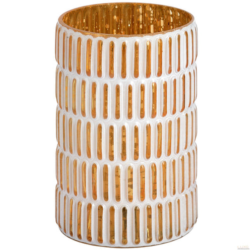 Medium Gold and white patterned tea light holder - LUXE Home Interiors