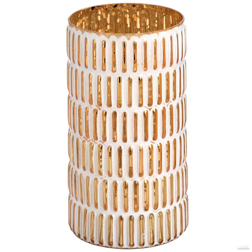 Large gold and white patterned candle holder - LUXE Home Interiors