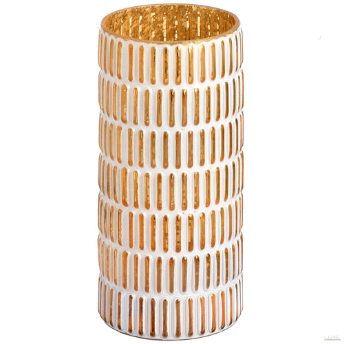 Large vase gold and white patterned candle holder - LUXE Home Interiors