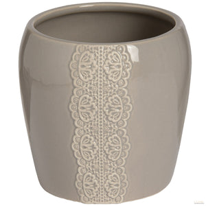 Ceramic Lace Detail Candle Holder In Grey - LUXE Home Interiors