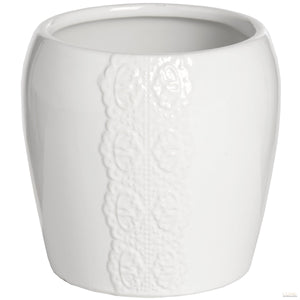 Ceramic Lace Detail Candle Holder In White - LUXE Home Interiors