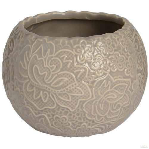 Ceramic Round Lace Detail Tea Light Holder In Grey - LUXE Home Interiors