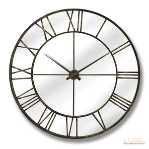 Metal Wall Clock With Mirror - LUXE Home Interiors