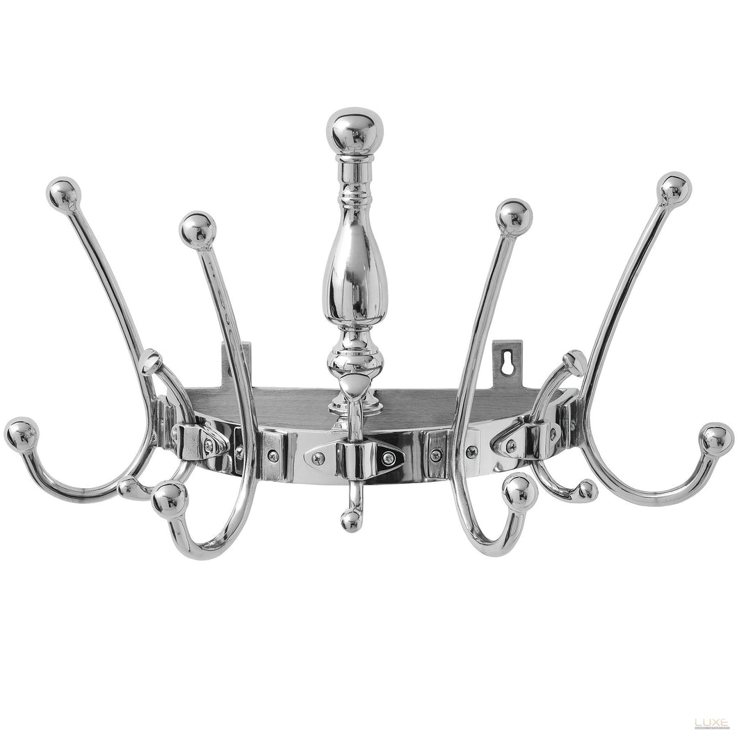 Wall Mounted Silver Hat & Coat Rack - LUXE Home Interiors
