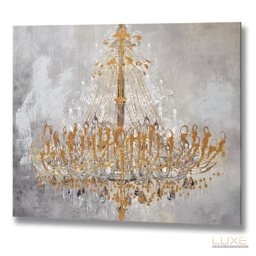 Golden Chandelier Handpainted Canvas
