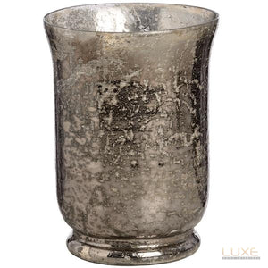 Antique Silver Mercury Glass Large Candle Holder - LUXE Home Interiors