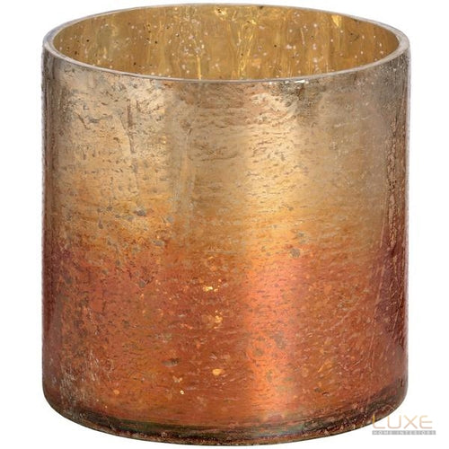 Copper Ombre Metallic Glass Small Candle Holder - LUXE Home Interiors
