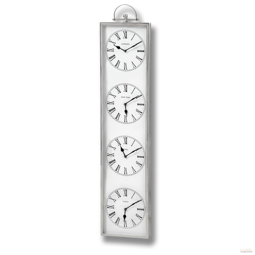 Chrome Time Zone Clock - LUXE Home Interiors