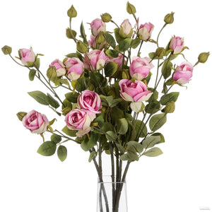 Pink Rose Stem With Multiple Heads And Buds - LUXE Home Interiors