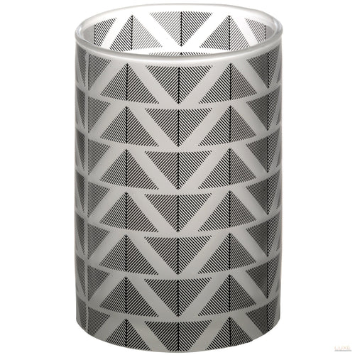 Grey And White Large Chevron Tealight Cylinder - LUXE Home Interiors