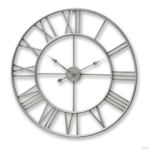 Silver Metal Frame Round Clock - LUXE Home Interiors