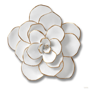 Small Decorative Wall Art Flower In White - LUXE Home Interiors