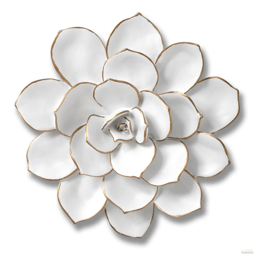 Medium Decorative Wall Art Flower In White - LUXE Home Interiors