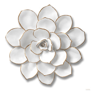 Medium Decorative Wall Art Flower In White