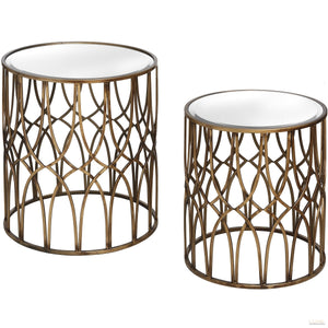 Set Of Two Gold Detail Mirrored Side Tables - LUXE Home Interiors