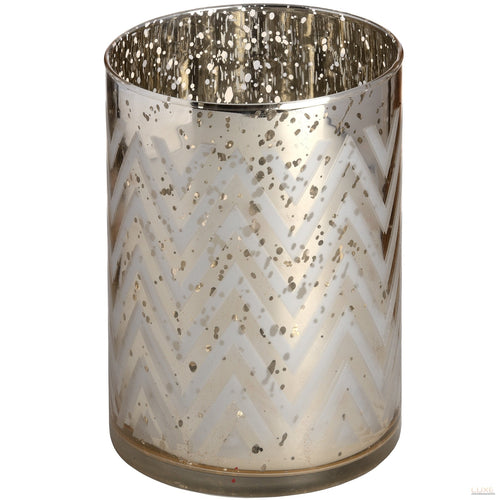 Silver Glass Chevron Tealight Holder in Speckle Effect - LUXE Home Interiors